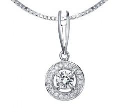 1/2 Carat Diamond Circle Pendant on 10k White Gold