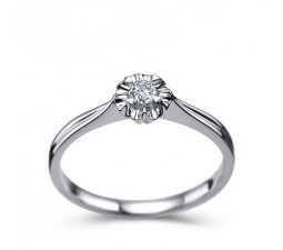 1/10 Carat Diamond Solitaire Promise Ring on 10k White Gold