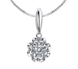 1/10 Carat Diamond Pendant on 10k White Gold
