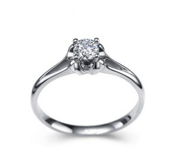 1/3 Carat Diamond Solitaire Engagement Ring on 10k White Gold