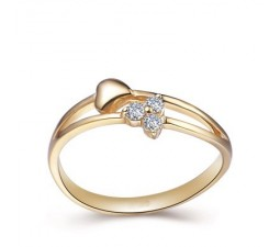 Unique Heart Diamond Wedding Ring Band on 10k Yellow Gold