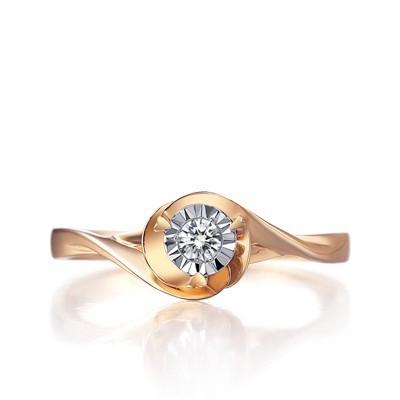 Diamond Promise Ring Solitaire Ring on 9ct Rose Gold JeenJewels