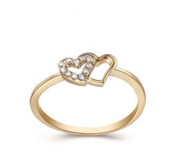Twin Hearts Diamond Wedding Ring Band on 18k Yellow Gold