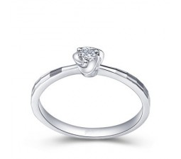 Round Diamond Solitaire Engagement Ring on 10k White Gold