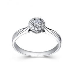 Halo Diamond Engagement Ring on 10k White Gold