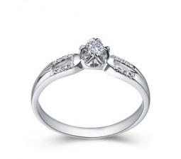 Beautiful 2 Row Diamond Engagement Ring on 10k White Gold