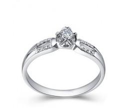 Beautiful 2 Row Diamond Engagement Ring on 10k White Gold