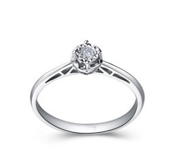 Lovely Round Solitaire Diamond Engagement Ring