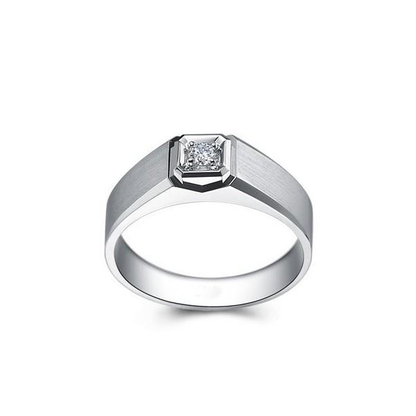 Diamond Mens Wedding Band On Silver