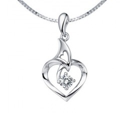 1/10 Carat Diamond Heart Pendant on 18k White Gold