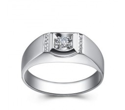 Affordable Men Diamond Wedding Band on Silver