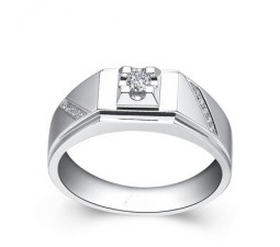 Diamond Men's Wedding Band on Silver