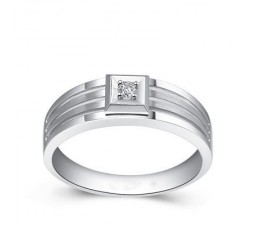 Men's Diamond Wedding Band on Silver
