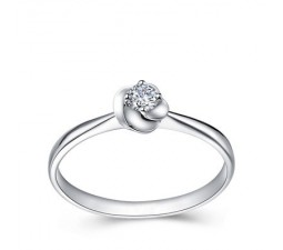 Solitaire Round Diamond Engagement Ring on 10k White Gold