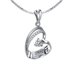 1/4 Carat Diamond Heart Pendant on 10k White Gold