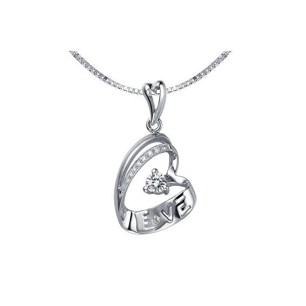 Heart shape diamond love pendant jeenjewels 14 carat diamond heart pendant on 10k white gold aloadofball Image collections