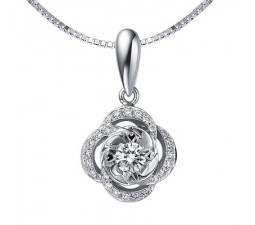 1/2 Carat Diamond Circle Pendant on 14k White Gold
