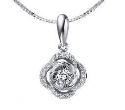 1/2 Carat Diamond Circle Pendant on 14k White Gold