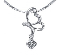 1/4 Carat Diamond Heart Pendant on 14k White Gold