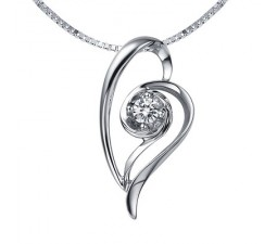 1/5 Carat Diamond Heart Pendant on 10k White Gold