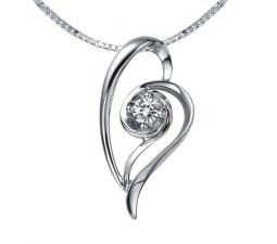 1/5 Carat Diamond Heart Pendant on 10k White Gold