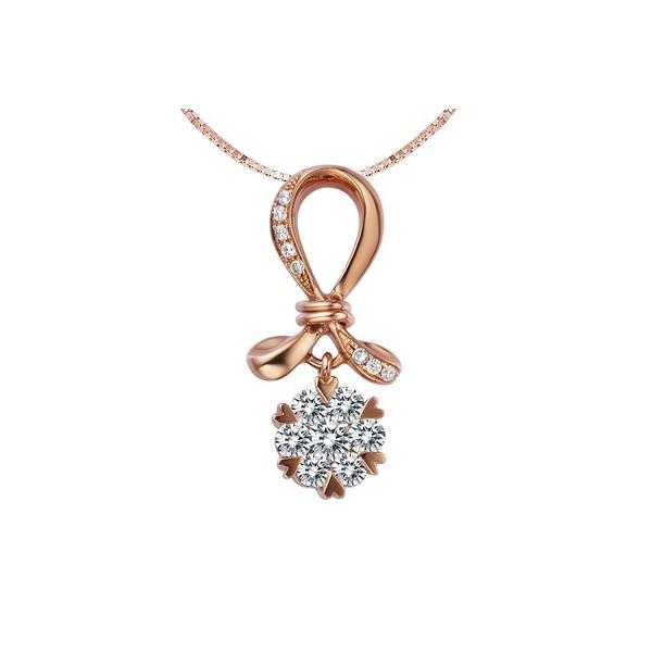 Lovers knot circle diamond pendant on 18k rose gold jeenjewels 12 carat diamond pendant on 18k rose gold aloadofball Image collections