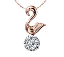 1/4 Carat Diamond Circle Pendant on 18k Rose Gold