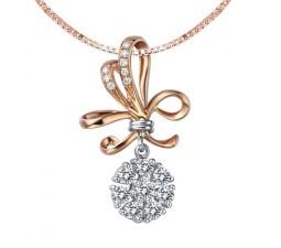 1/2 Carat Diamond Circle Pendant on 18k Rose Gold