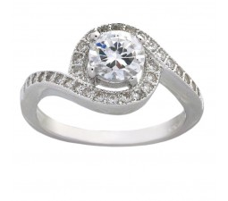 Halo 1.50 Carat Cubic Zirconia Round Engagement Ring in 18k Gold over Sterling Silver