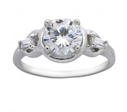 1.5 Carat Cubic Zirconium Round and Baguette Engagement Ring for Her