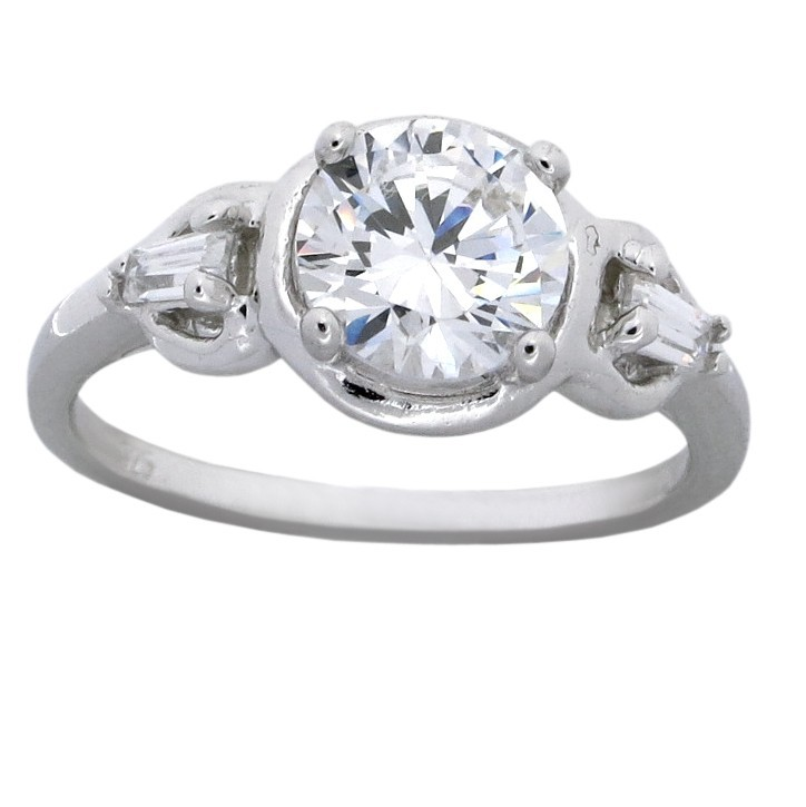 1 5 Carat Cubic Zirconium Round and Baguette Engagement Ring for Her JeenJe