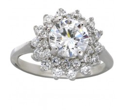Flower Halo 2 Carat Cubic Zirconia Engagement Ring in 18k Gold over Sterling Silver