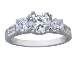 2 Carat Cubic Zirconia Three Stone Round Engagement Ring in 18k White Gold over Sterling Silver