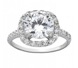 Beautiful 2.5 Carat Cubic Zirconium Halo Round Engagement Ring