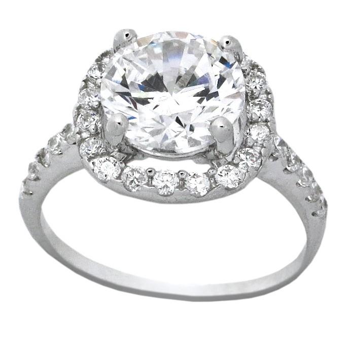 Beautiful 2 5 Carat Cubic Zirconium Halo Round Engagement