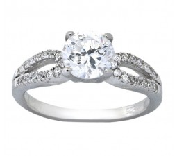 Classic 1.5 Carat Round Cubic Zirconium Engagement Ring for Her