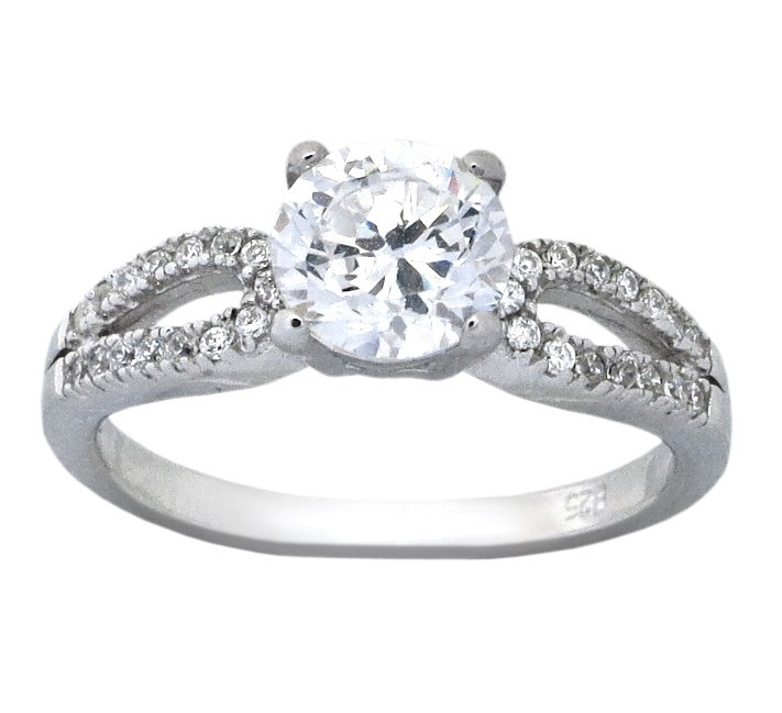 Classic 1 5 Carat Round Cubic Zirconium Engagement Ring for Her JeenJewels