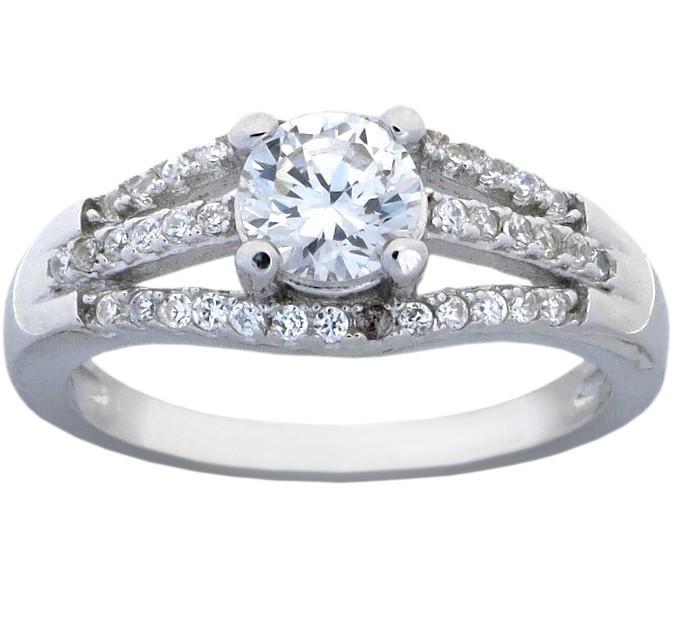 Elegant Round Engagement Ring with 3 4 Carat Cubic Zirconium JeenJewels