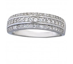 1 Carat Cubic Zirconia Wedding Ring Band for Women in White Gold over Sterling Silver