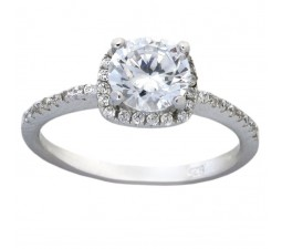 Halo 1.5 Carat Round Cubic Zirconia Engagement Ring in 18k Gold over Sterling Silver