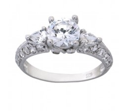 Three Stone 2 Carat Cubic Zirconia Antique Engagement Ring in 18k Gold over Sterling Silver