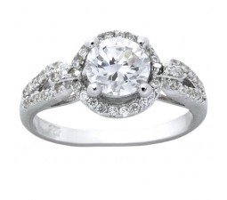 Designer 1 Carat Round Cubic Zirconium Engagement Ring for Women