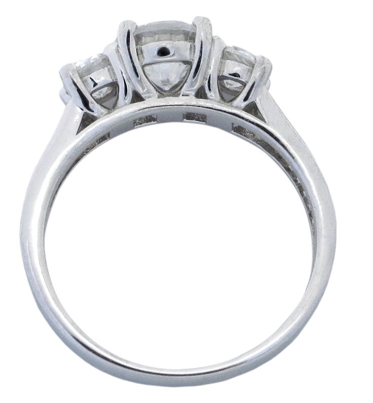 2 carat cubic zirconia three stone round engagement ring in 18k white gold over sterling silver - White Gold Cubic Zirconia Wedding Rings