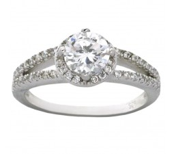 Halo 1 Carat Cubic Zirconium Round Engagement Ring for Women