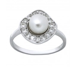 Elegant Pearl Engagement Ring for Her