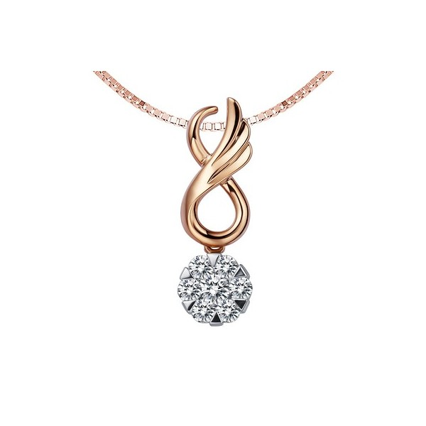Circle shape diamond pendant on 18k rose gold jeenjewels 14 carat diamond circle pendant on 18k rose gold aloadofball