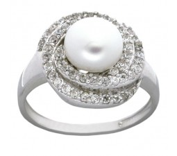 Antique Pearl Engagement Ring for Her in 18k Gold over Silver