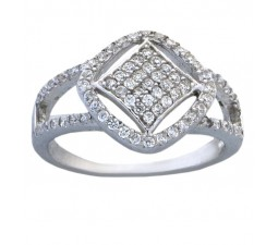 Pave set Half Carat Cubic Zirconium Promise Ring for Her