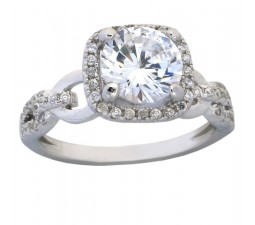 Antique 1.50 Carat Cubic Zirconia Round Engagement Ring in 18k White Gold over Silver