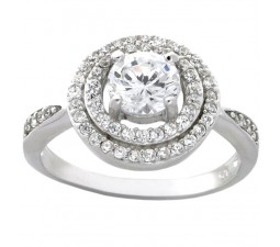 Wonderful 1 Carat Cubic Zirconia Halo Round Engagement Ring in 18k Gold over Sterling Silver